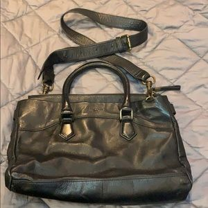 Liebeskind Berlin black distressed leather satchel